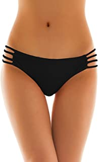 Womens Sexy Solid Strappy String Bikini Panties Hipster Thong Swimwear Bottom