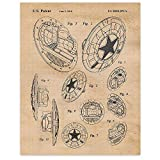 Vintage Captain America Shield Patent Poster Prints, Set of 1 (11x14) Unframed Photo, Wall Art Decor Gifts Under 15 for Home, Office, Studio, Garage, Man Cave, College Student, Comic-Con & Movies Fan
