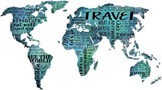 Travel Quotes Typography World Map Wall Art Teal Decor 12x16 Inch Print