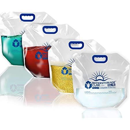 4-Pack Water Storage Jug for Camping Collapsible Water Container Bag Bottle Fold