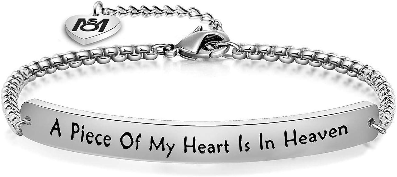 MYOSPARK A Piece of My Heart is in Heaven Memorial Bracelet Hand
