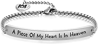 A Piece of My Heart is in Heaven Memorial Bracelet Hand Stamped Bracelet Loss Memorial Gift