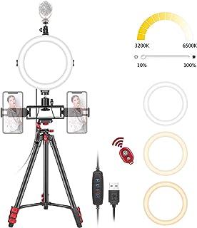 """Neewer 8"""" Luce LED Anulare da Selfie con Treppiedi, 3 Attacchi Coldshoe, 2 Supporti Clip per Smartphone, Telecomando, 3 Mo..."""