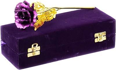 MSA Jewels Valentine Gift Purple Gold Rose with Beautiful Purple Velvet Box