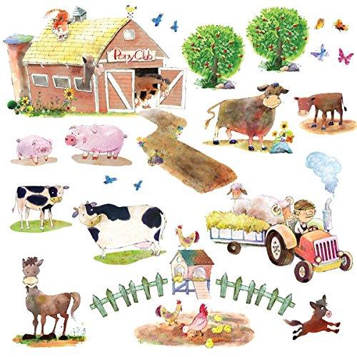 Decowall DW-1407 Bauernhof Kuh Pferd Nutztiere Tiere Wandtattoo Wandsticker Wandaufkleber Wanddeko für Wohnzimmer Schlafzimmer Kinderzimmer