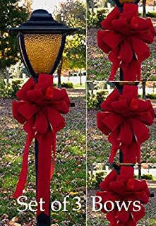 Floral Home Decor Set of 3 Wired Red Velvet Wired Christmas Bows