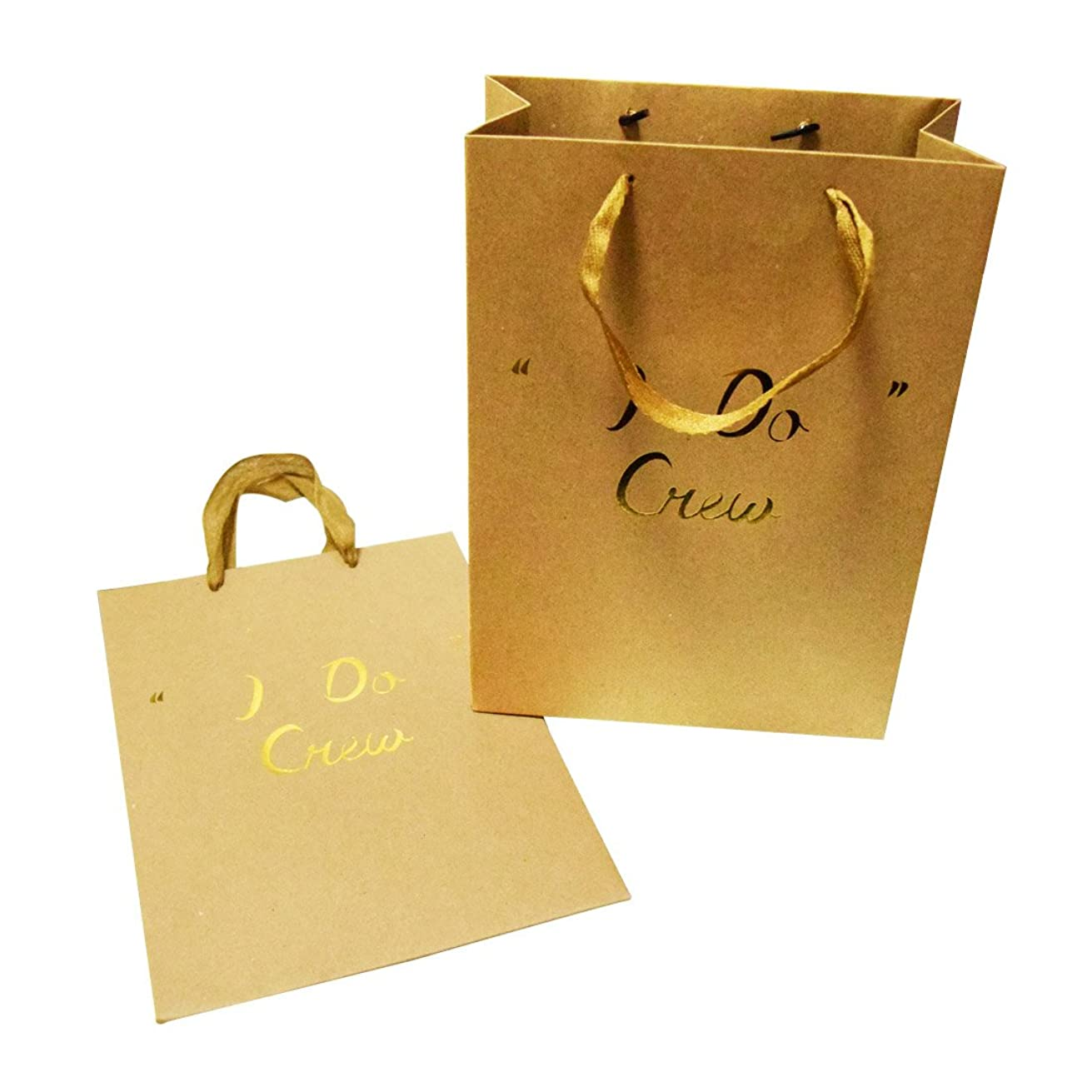 FOONEA I Do Crew Kraft Paper Bags Gift Bags Party Favor Bags Set of 10 with Handles for Hotel Guests Wedding Favors Bridesmaid Graduation Gift Birthday Party Bridal Baby Boy Girl Shower