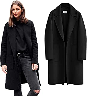 Women Trench Coat Long Sleeve Pea Coat Lapel Open Front Long Jacket Overcoat Outwear Elegant Notched Collar Double Breasted Wool Blend Over Coat