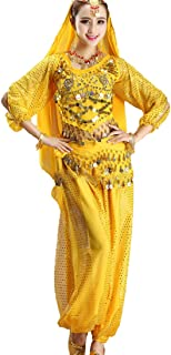Fulision Women's 5 Piece Set Dancing Outfit Belly Dance Princess Cosplay Party Cothing