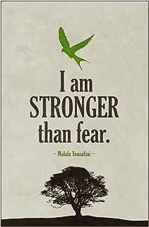 Malala Yousafzai I Am Stronger Than Fear Famous Motivational Inspirational Quote Cool Wall Decor Art Print Poster 12x18