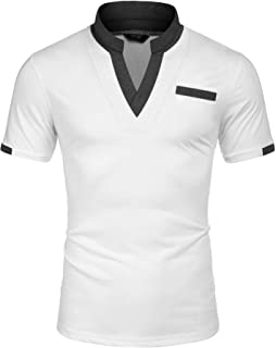 COOFANDY Men's Casual Polo Shirts with Pocktes Regular Fit Contrast Color Collar Sport Polo T-Shirts