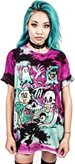 Winsummer Women's Crew Neck Halloween Top Short Sleeve 3D Skull Digital Print Punk Rock T-Shirt Blouse