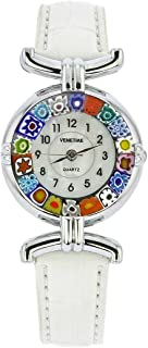 Murano Glass Millefiori Watch with Leather Band - White