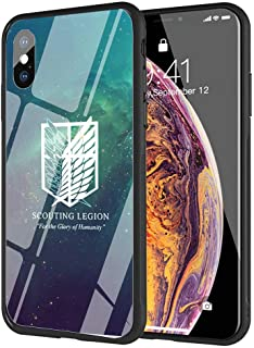 YZSGP AA-117 Attack on Titan Phone Case for iPhone X/XS, Tempered Glass Back Cover with 360 Degree Full Strong Protection