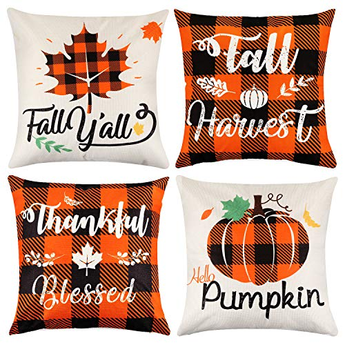 Mocoosy Fall Pillow Covers 18 x 18 Inch, Fall Thanksgiving Pillow Cases Decorative Plaid Linen Throw Pillow Covers Pumpkin and Maple Leaf Square Pillowcase for Autumn Thanksgiving Home Decor Set of 4
