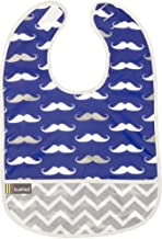 Kushies Cleanbib Waterproof Feeding Bib with Catch All/Crumb Catcher Pocket. Wipe Clean and Reuse! Lightweight for Comfort, Baby Boys, 12 Months Plus, Navy Mustache