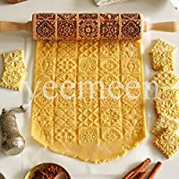 mattarello in legno goffrato con motivi natalizi goffratura mattarello (20motivi in rilievo) utensili da cucina rolling pin per cuocere biscotti torte pasticceria torta regalo di natale capodanno 35cm