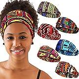 6 Pieces African Headbands Elastic Turban Headbands Boho Print Headband Elastic Hair Bands Headwrap Workout Sports Hair Accessories for Women Girls