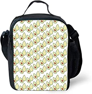 Fresh wild simple fashion Yellow Avocado Pattern Outdoor Picnic Thermal Insulated Cooler Lunch Bag,Colour:Avocado-4 (Color...