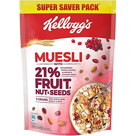 Kellogg's Muesli with 21% Fruit, Nut & Seeds |Tastier now with Cranberries and Pumpkin Seeds |Breakfast Cereal | High in Iron| Source of Fibre | Naturally Cholesterol Free | 750g Pack