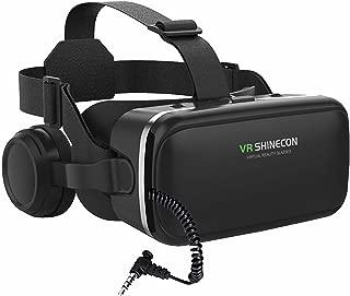 VRゴーグル VRヘッドセット「2019令和最新型 スマホ用ヘッドホン付き3DVRメガネ」ゲーム 映画 動画に適用 SHINECON VR 受話可能 4.0~6.0インチの iPhone/Android などの携帯電話対応 黒 日本語取扱説明書付き