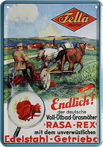 Fella Feucht Grasmäher Nostalgie Blechschild Postkarte Blechkarte PKM 199