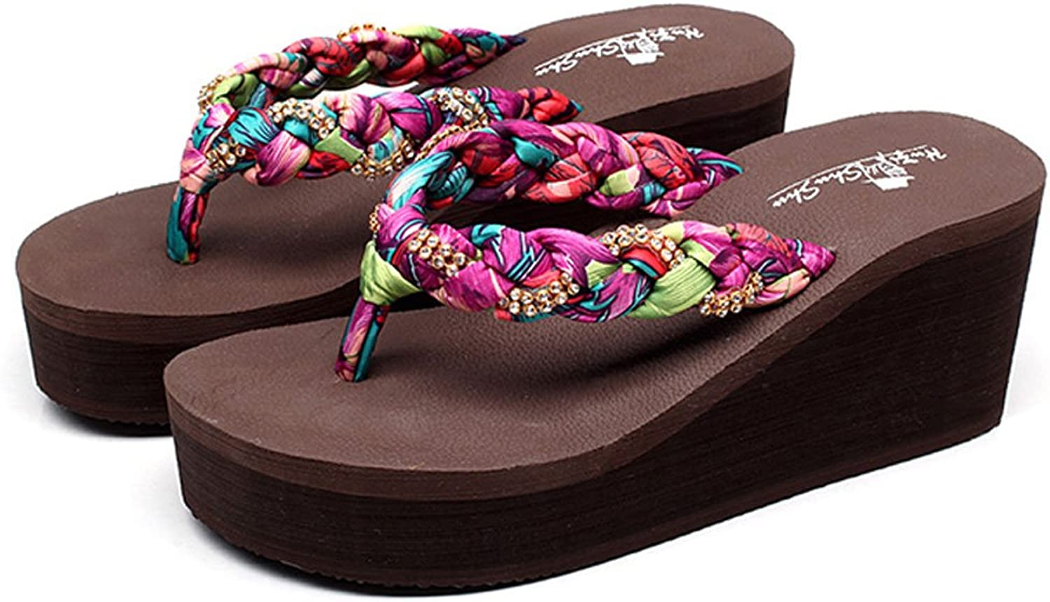 Summer Women Wedge Slippers Fashion Outdoor Beach shoes Sexy High-Heeled Slippers Comfortable Flip Flops