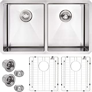 """VADANIA 32-inch Kitchen Sink, 32""""x19""""x10"""", Double Bowls 50/50, Undermount, 18 Gauge T304 Stainless Steel, Satin Finish, with Strainer & Bottom Grid, cUPC listed"""