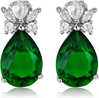 RIZILIA Teardrop Stud Pierced Earrings with Pear Cut CZ [Simulated Green Emerald] in White Gold Plated, Simple Modern Elegant