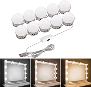 Pretmess Hollywood Style Vanity Mirror Lights Kit, Adjustable Color and Brightness with 10 LED Light Bulbs, Lighting Fixtu...