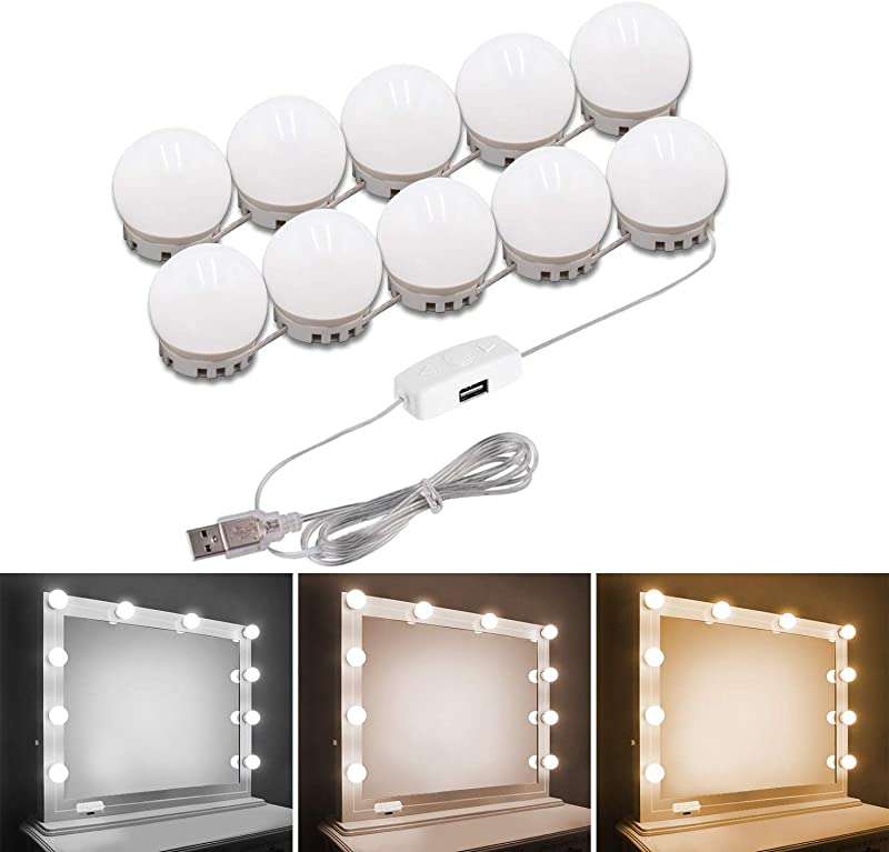 Pretmess Hollywood Style Vanity Mirror Lights Kit Adjustable Color And Brightness With 10 LED Light Bulbs Lighting Fixture Strip For Makeup Vanity Table Set In Dressing Room Mirror Not Include