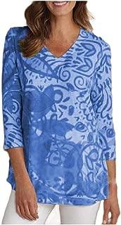 Mogogo Women's Everyday 3/4 Length Cozy Baggy Style V-Neck Tunic Top