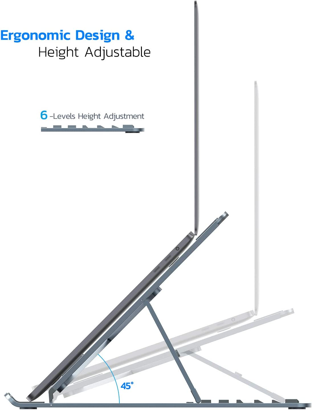 Nulaxy Laptop Stand Space Grey Aluminum Laptop Riser with 6 Levels Height Adjustment Fully Foldable Portable Computer Laptop Mount Supports up to 22lbs