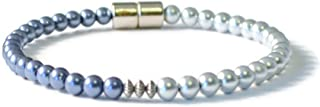 Beads-N-Style Therapeutic Magnetic Health Bracelet, Lapis Blue/Silver Pearl Magnetic Hematite and Sterling Silver