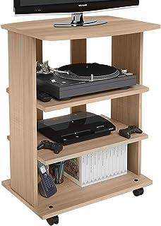 Bakaji Mueble para TV de Madera MDF con 3 estantes para Consola de Videojuegos DVD y 4 Ruedas Mueble con Carro para tele...