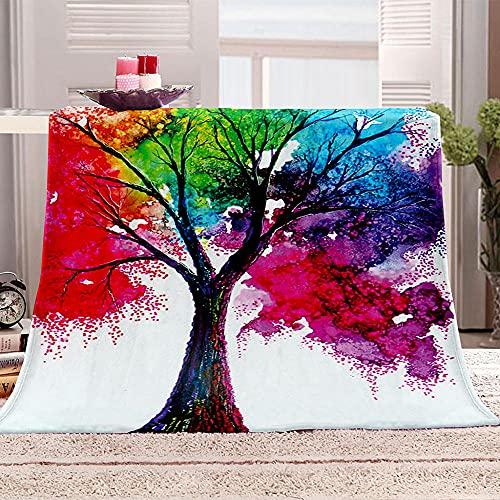 Ejiawj Mantas para Sofa Baratas Pintura de árboles de Colores 120x200 cm...