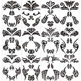 Qpout12 pcs Tatuajes temporales de cara, tatuajes de cara maorí Pegatinas tribales de tatuaje de cara negra para mujeres/hombres Fiesta de carnaval Fiesta temática maorí Suministros de decoración