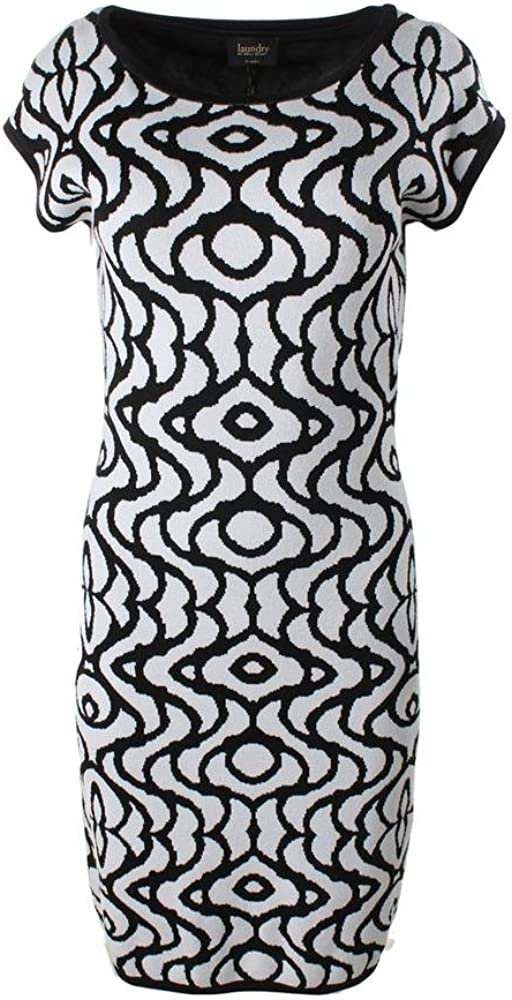 LAUNDRY BY SHELLI SEGAL New Black White Knit Sweaterdress Dress Lined SZ S New