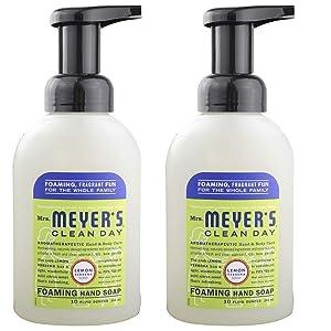 Foaming Hand Soap, Lemon Verbena 10 Oz by Mrs Meyers (Pack of 2)