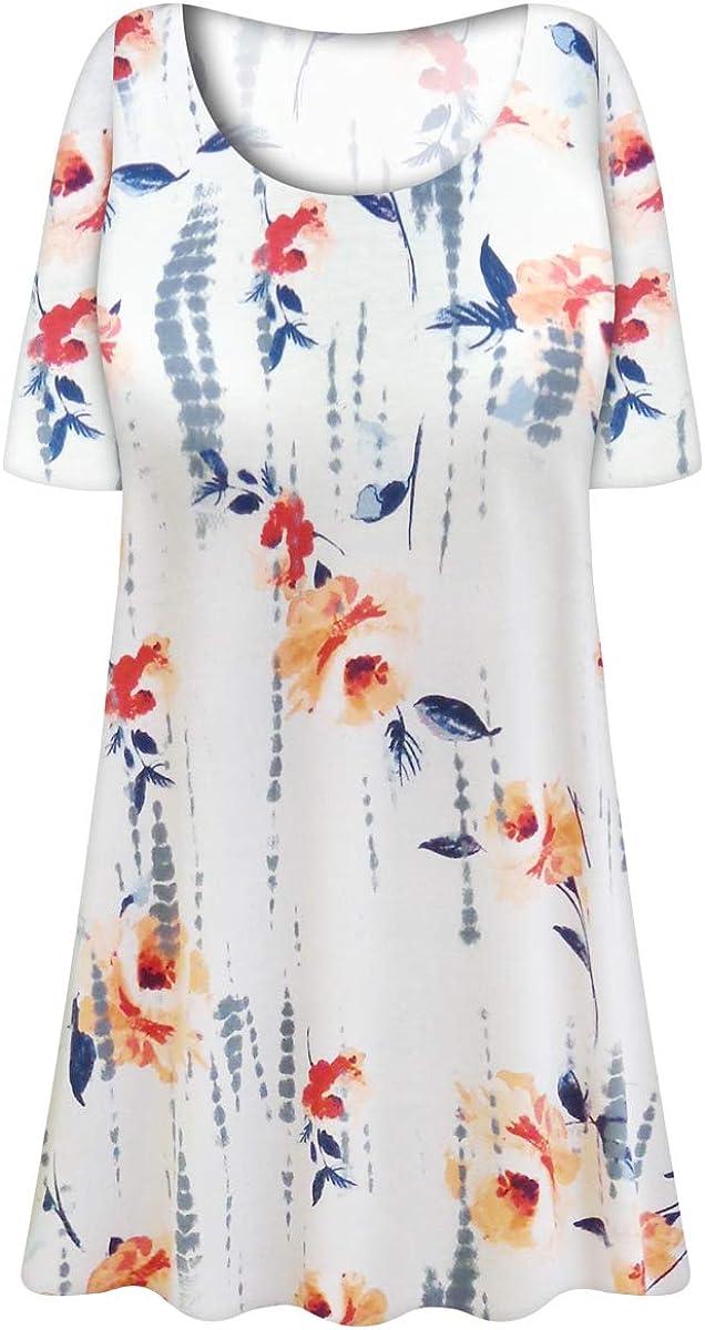 Sanctuarie Designs Plus Size T-Shirt Extra Long Poly/Rayon White Floral Print