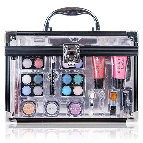 SHANY Carry All Trunk Professional Makeup Kit – Eyeshadow,Pedicure,manicure With Black Trim Clear Case