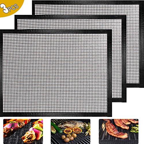 ODSPTER BBQ Grillmatte - 3er Set BBQ Grillen Mesh Matte BBQ Grill Pads Langlebiger Antihaftbeschichtung für Gas, Holzkohle Perfekt für Fisch, Fleisch und Gemüse - 40x33cm