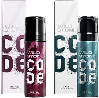 Wild Stone Code Iridium and Steel Body Perfume Combo for Men, Multi, Fresh, 120 ml, Pack of 2