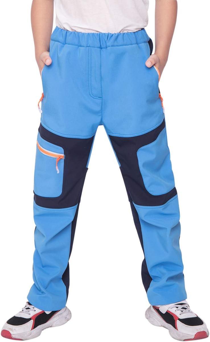 Pantaloni da Escursionismo Bambina Impermeabili CAMLAKEE Pantaloni Trekking Invernali Bambino Antivento Pantaloni Softshell Ragazzo Foderati