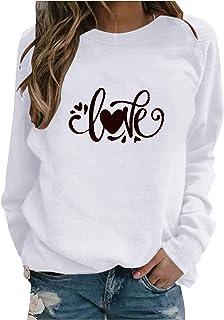 QIANSHION Maglie Donna Maniche Lunghe Elegante Stampata Love Invernale Tops Casuale Tinta Unita Magliette Pullover Autunno...