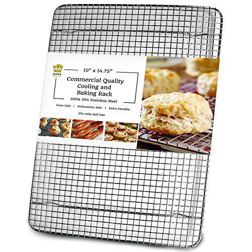 Ultra Cuisine Grille de refroidissement 100 % acier inoxydable pour la cuisson - Compatible avec les demi-plaques de cuisson - Passe au four - Qualité commerciale robuste