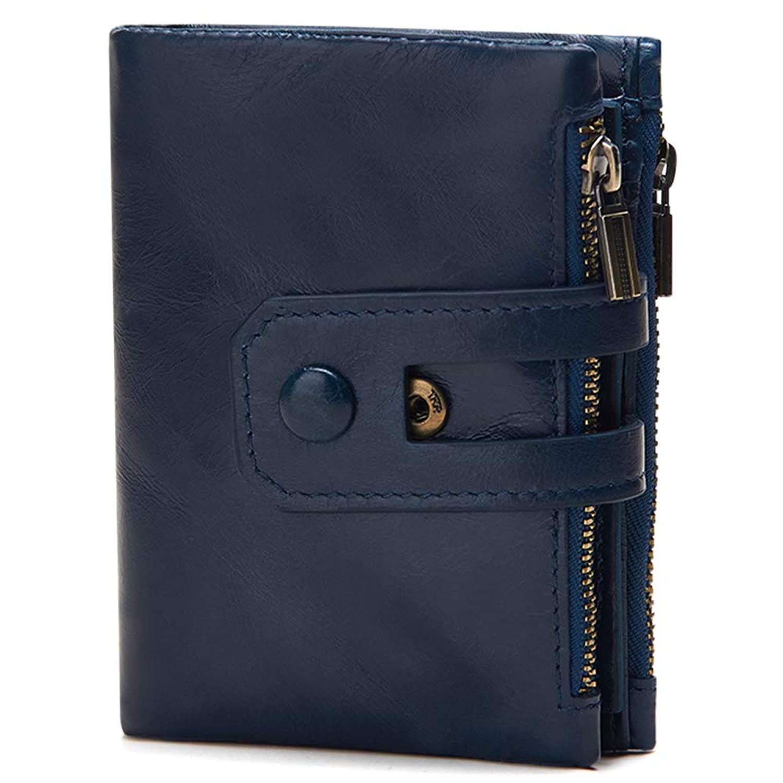 Emostya 二つ折り財布 メンズ 本革 財布 二つ折り ファスナー コンパクト 15枚収納カード 大容量 ボタン 小銭入れ RFIDブロッキング スキミング防止
