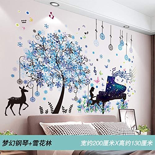 3d stereo wandaufkleber schlafzimmer junge raumdekoration hintergrundbild Dream Piano + Snow Forest_Extra groß