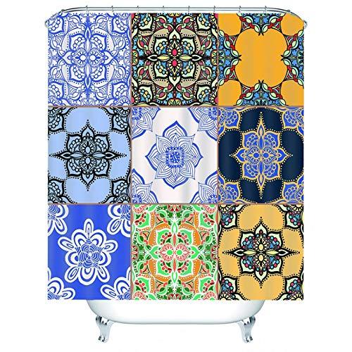 KnSam Duschvorhang, Mandala Gittermuster Badezimmer Dekoration Wand Polyester Duschvorhang Anti Schimmel Duschvorhang Anti Schimmel Duschvorhänge 59X79Inch