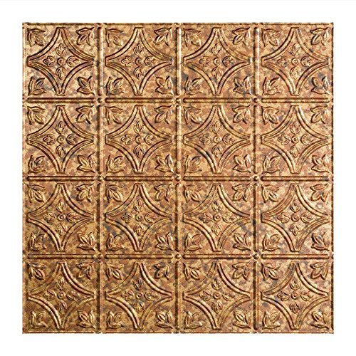 Fasade Easy Installation Traditional 1 Cracked Copper Lay In Ceiling Tile / Ceiling Panel (2' x 2' Tile) by Fasade